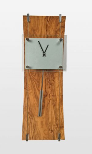 K Clock Contemporary Wall Clock in Walnut Finish