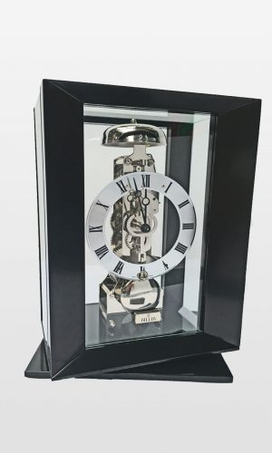 Callum Modern Cube with Swivel Base, Mantel Clock In Black Finish