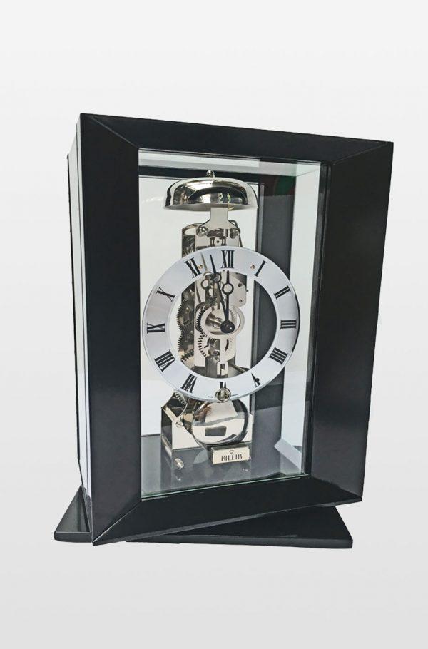 Callum Modern Cube with Swivel Base, Mantel Clock In Black Finish