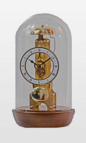 Emily Glass Domed Mantel Clock in Walnut Finish