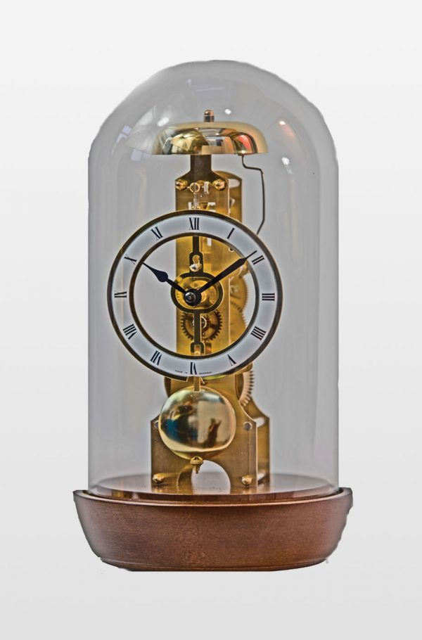Emily Glass Domed Mantel Clock in Walnut Finish