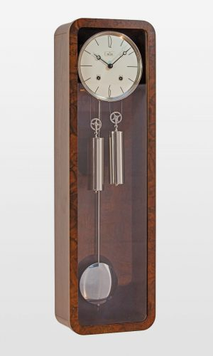 Vintage Mechanical Wall Clock in Walnut Finish